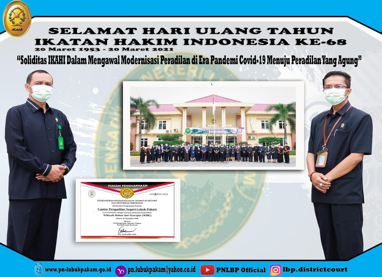Ketua dan Wakil Ketua Pengadilan Negeri Lubuk Pakam Serta Pengurus IKAHI Cabang Pengadilan Negeri Lubuk Pakam Mengikuti HUT IKAHI Ke-86 Secara Virtual